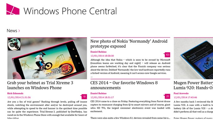 Windows Phone Central screen shot 1