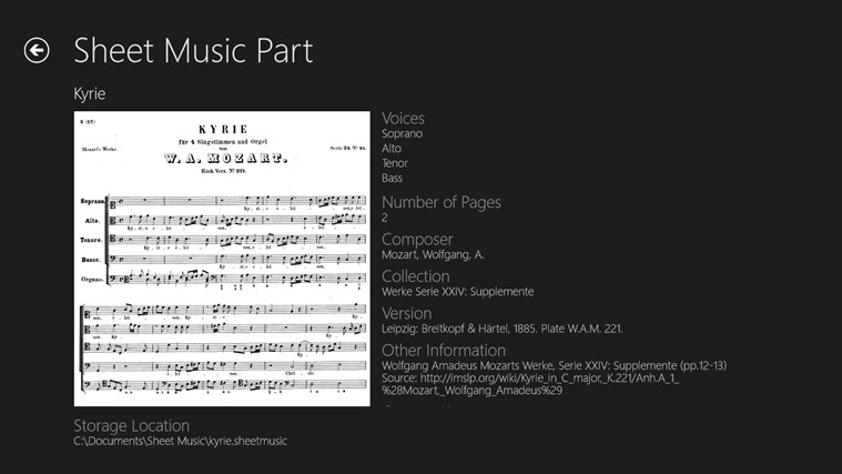 Sheet Music screen shot 1