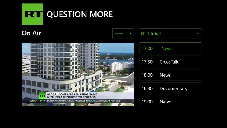 RT News English screen shot 7