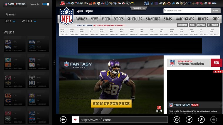 NFL Game Rewind screen shot 1