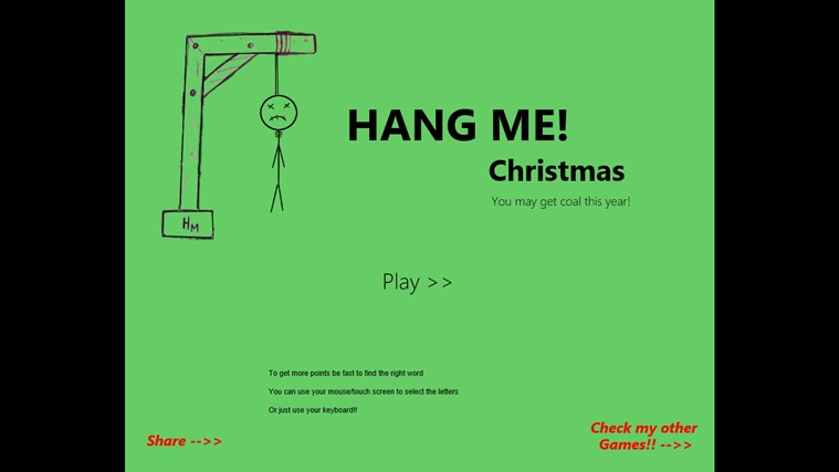 Hang Me Christmas screen shot 1
