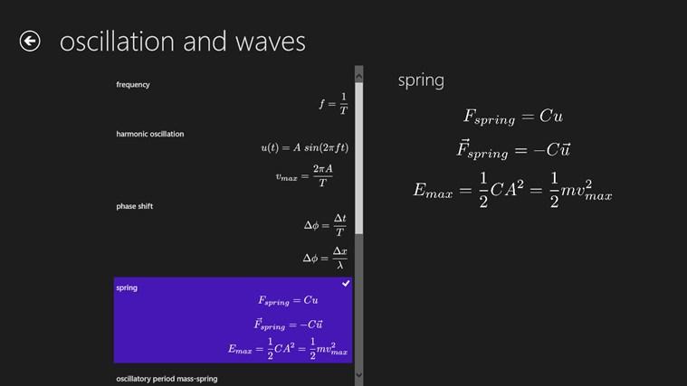 Physics Formulas screen shot 1