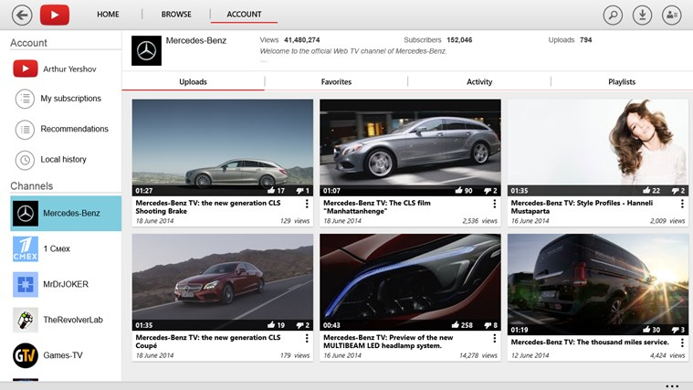 YouTube for Windows 8 screen shot 5