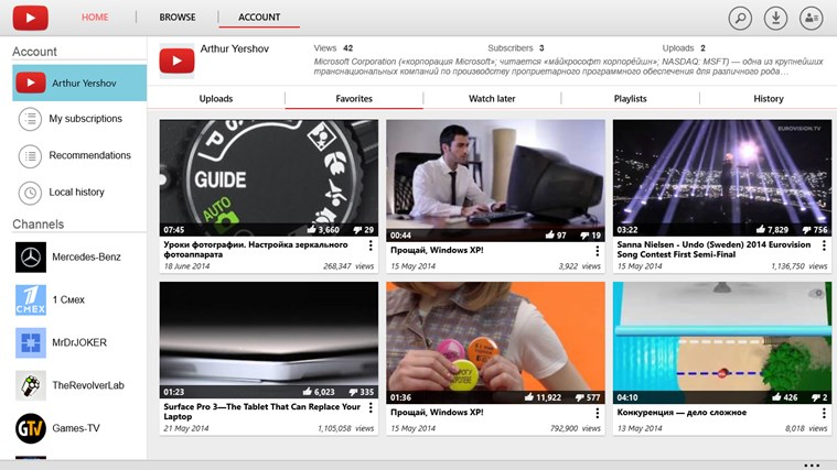 YouTube for Windows 8 screen shot 7
