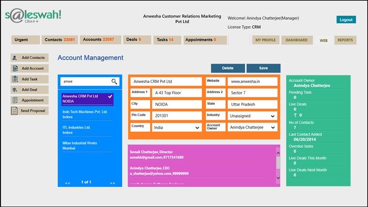 Saleswah Lite CRM screen shot 1