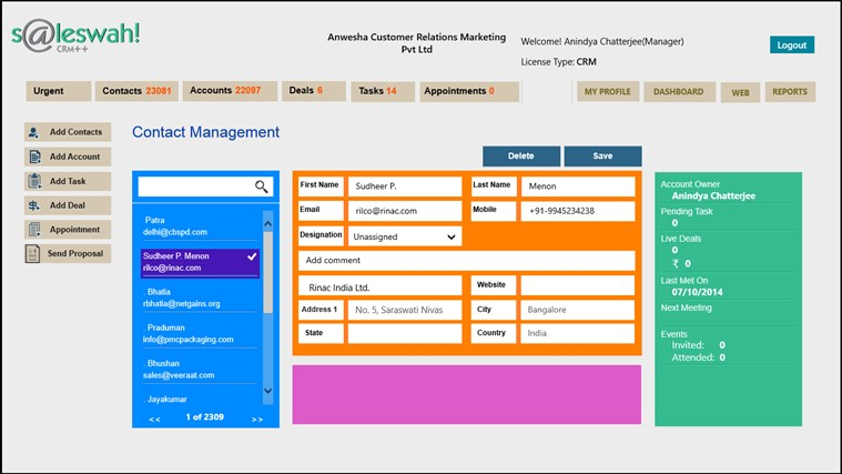 Saleswah Lite CRM screen shot 3