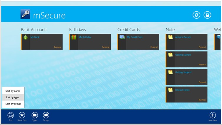 mSecure for Windows 8 and Lenovo captura de pantalla 1