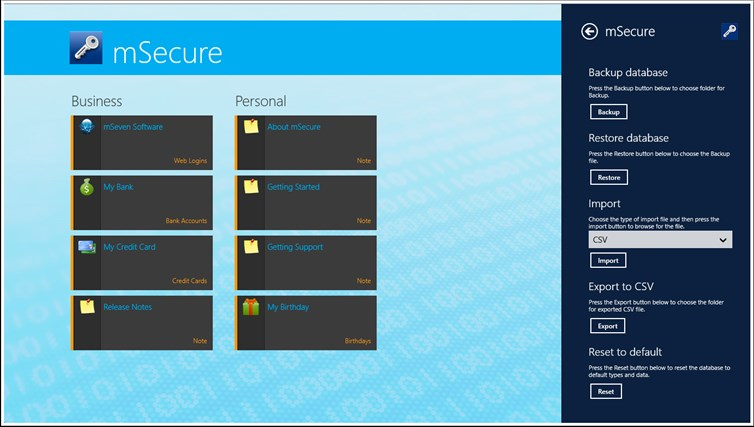 mSecure for Windows 8 and Lenovo captura de pantalla 7