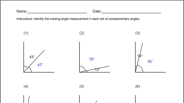 Complementary Angles Worksheet app for Windows in the Windows Store