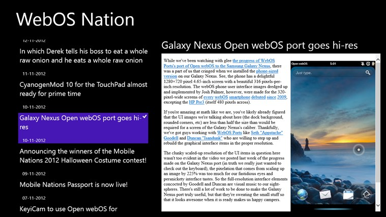 WebOS Nation screen shot 1