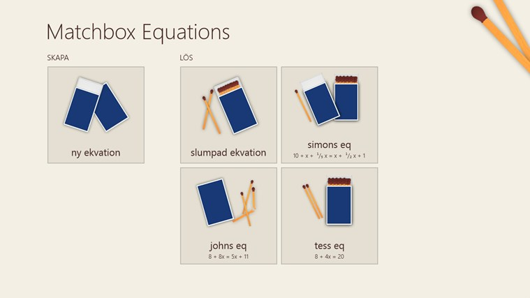 Matchbox Equations-skärmbild 1