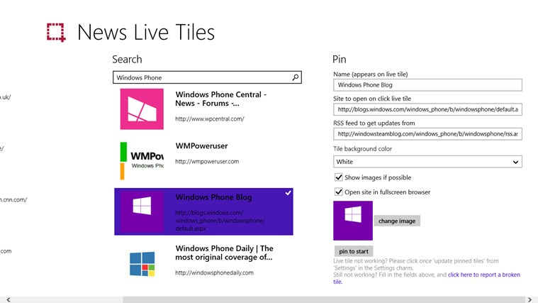 News Live Tiles screen shot 1