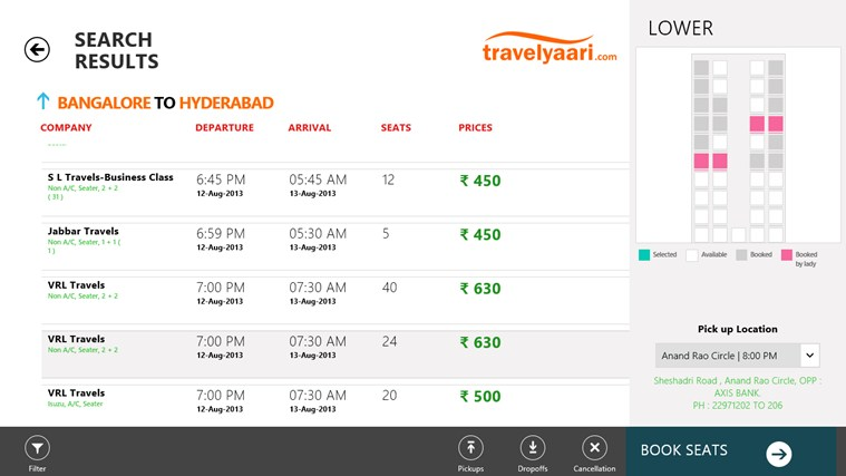 Travelyaari screen shot 1