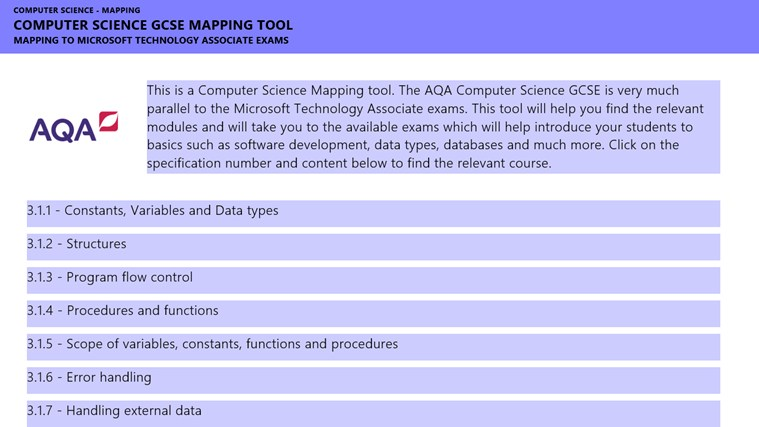 AQA - G.C.S.E Computing - MTA Mapping screen shot 1