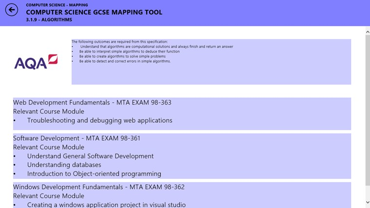 AQA - G.C.S.E Computing - MTA Mapping screen shot 3
