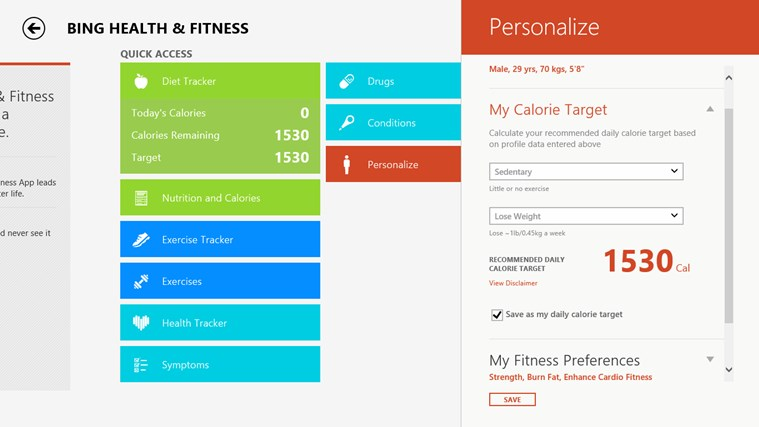 Bing Health & Fitness screen shot 5