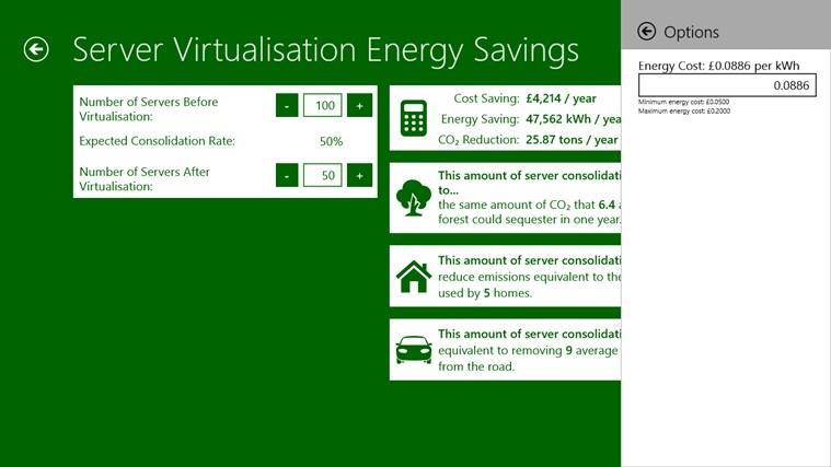 Microsoft Windows Energy Calculator screen shot 5