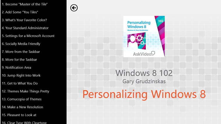 Windows 8: Personalizing Windows 8 لقطة شاشة1