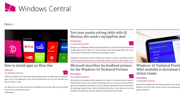 Windows Central screen shot 1