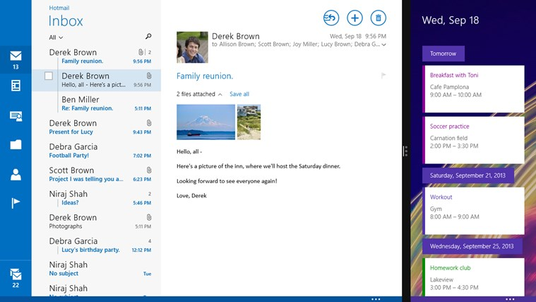 Mail, Calendar, and People screen shot 5