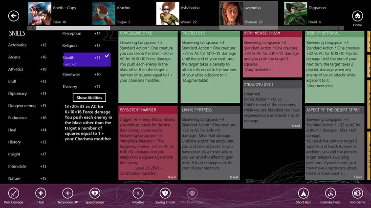 Character Compendium screen shot 3