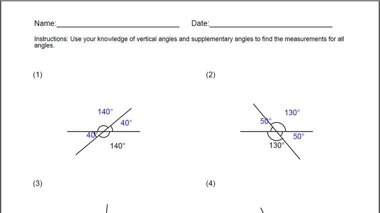 Vertically Opposite Angles Worksheet Grade 5 Proga Info