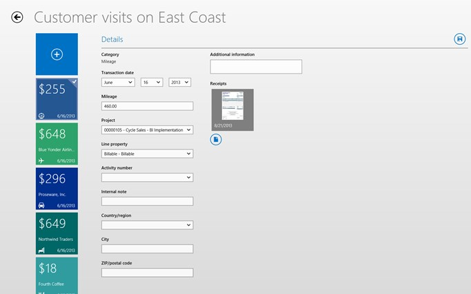 Dynamics AX 2012 Expenses screen shot 3