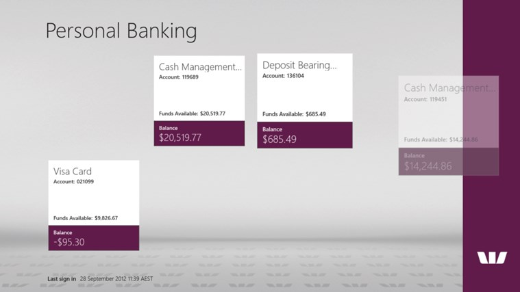 Westpac Banking for Windows 8 screen shot 1