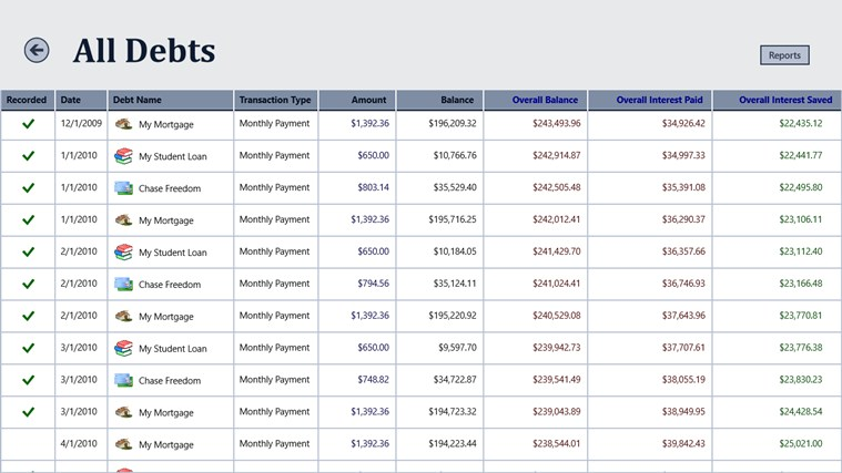 Debt Tracker screen shot 3