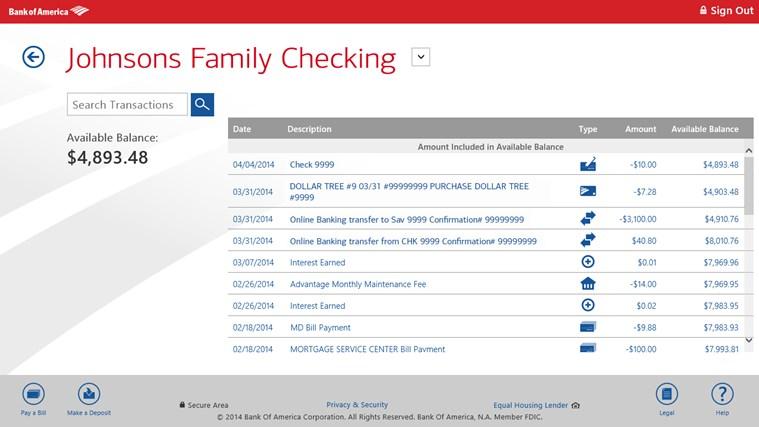 Bank of America screen shot 1