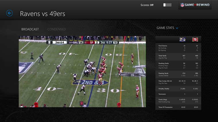 NFL Game Rewind screen shot 3