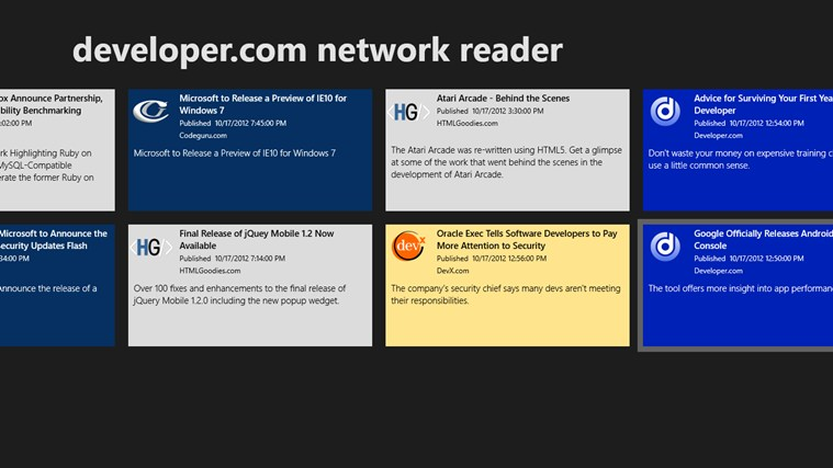 developer.com network reader screen shot 1