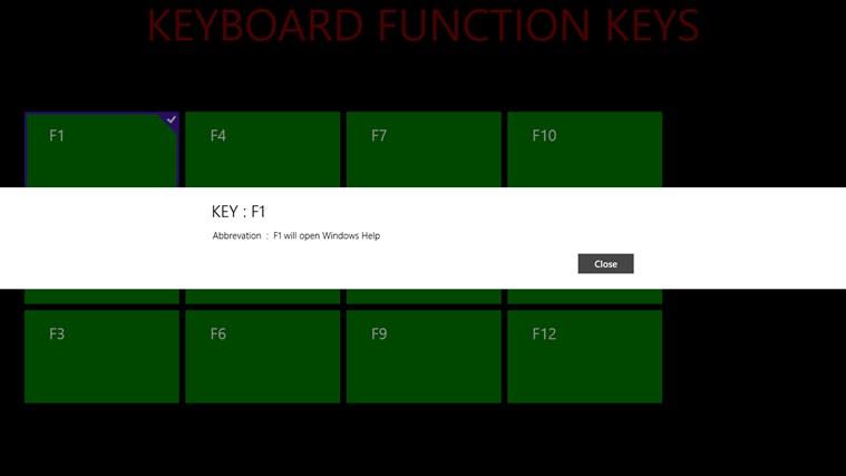KEYBOARD FUNCTION KEYS screenshot 1