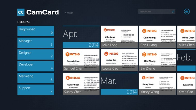 Camcard professional business card reader app for for Business card storage app