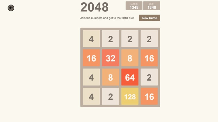 2048. screen shot 1