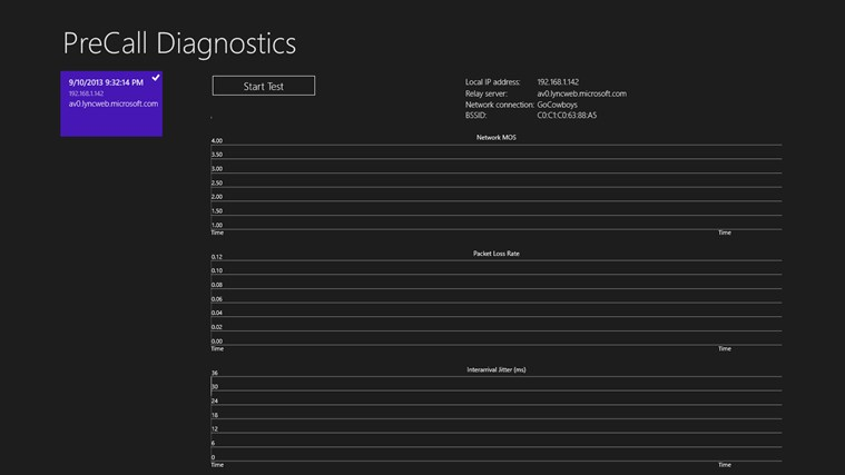 Lync 2013 PreCall Diagnostics screen shot 3