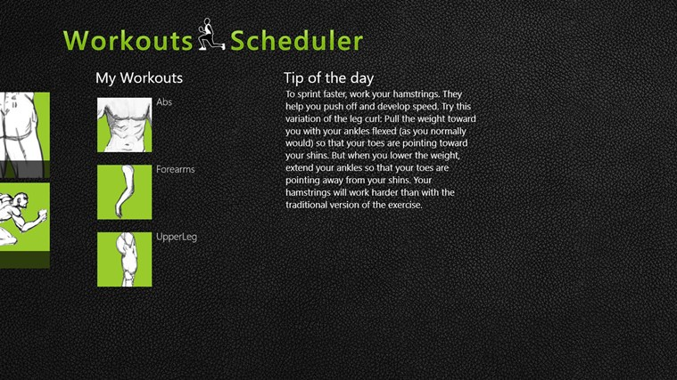 Workouts Scheduler screen shot 1