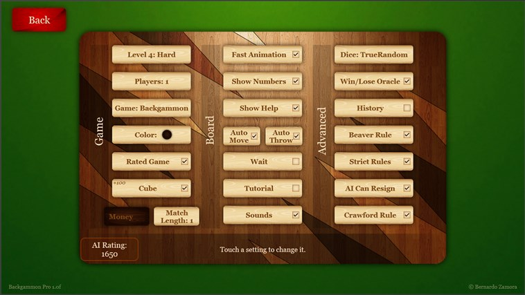 Backgammon Pro screen shot 1