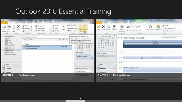 Outlook 2010 Tutorials: Essential Training screen shot 3