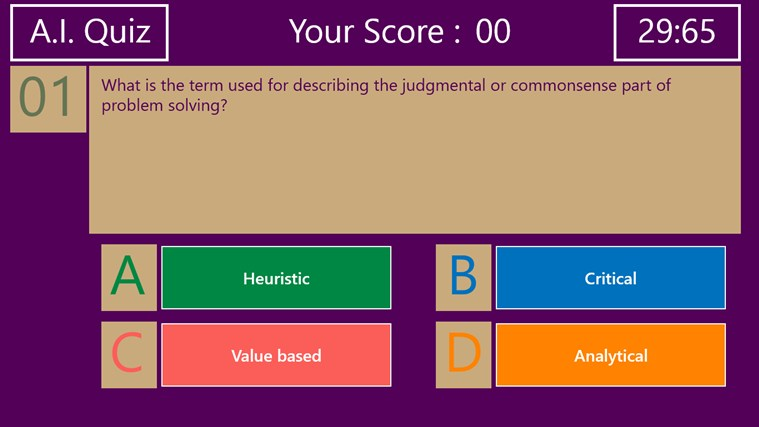 Artificial Intelligence Quiz screenshot 1
