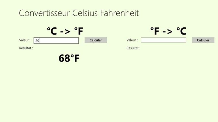 Convertisseur Celsius Fahrenheit screen shot 1