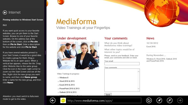 Video Training for Windows ® 8-skärmbild 3