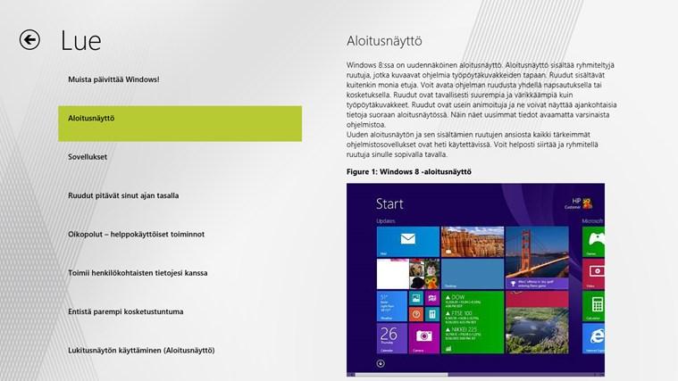 Windows 8 -aloitusopas näyttökuva 1