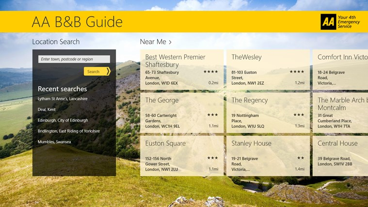 AA B&B Guide screen shot 1