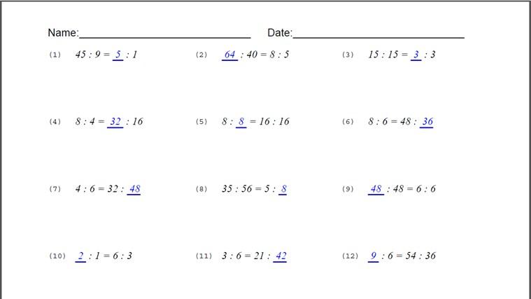 Equivalent Ratio Worksheets Davezan – Math Ratios Worksheets
