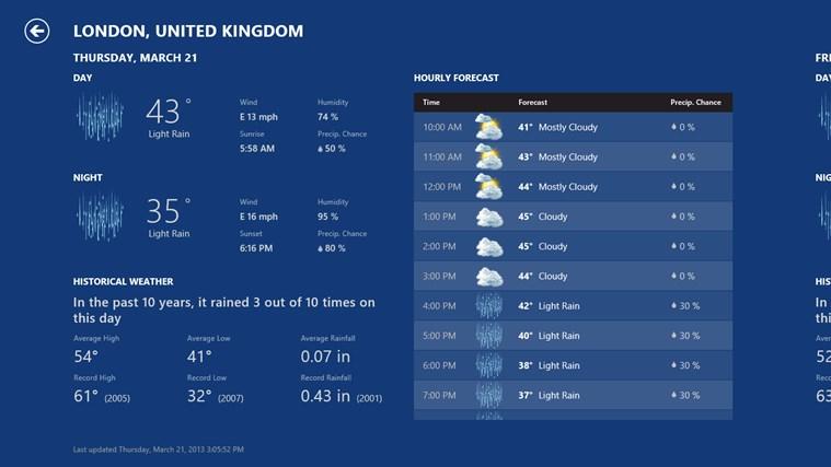 Bing Weather screen shot 1