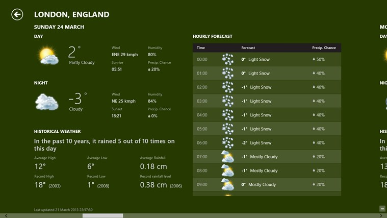 Bing Weather screen shot 1