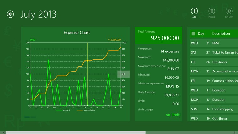 Expense Care Free screen shot 3