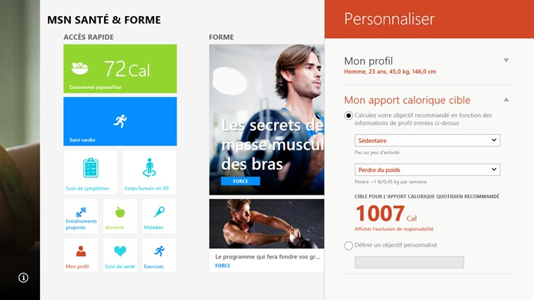 MSN Santé & Forme capture d'écran 5