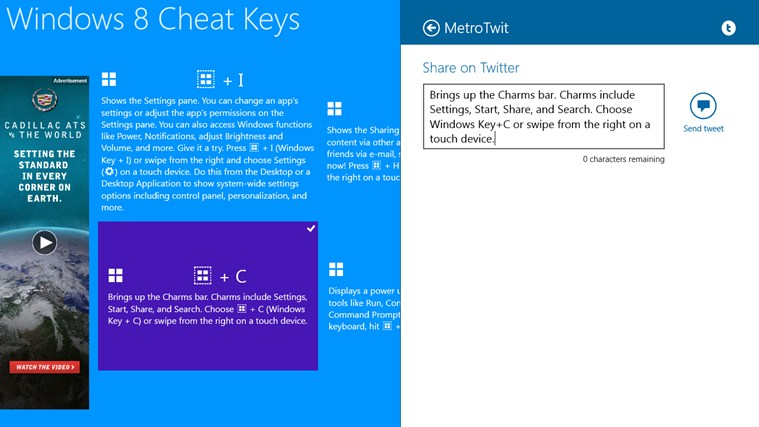 Windows 8 Cheat Keys screen shot 1